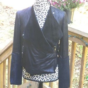 RED Saks 5th Ave Black Mixed Material Mix Look Jkt